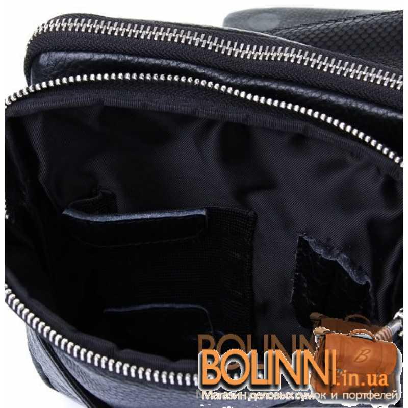 b88f463006b8 Мужская кожаная сумка черного цвета через плечо Luxon