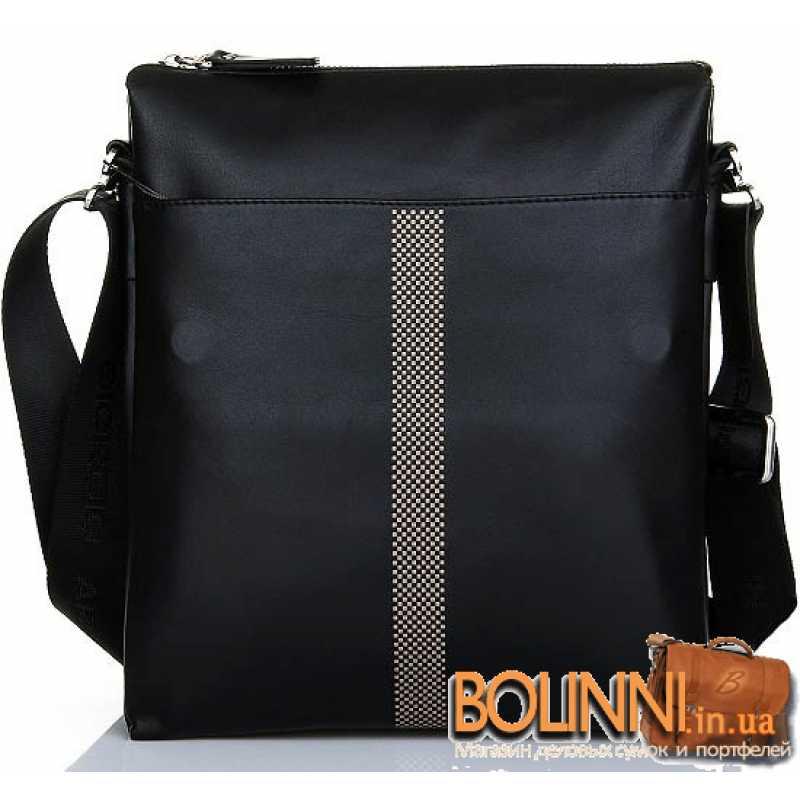 c52b008e6f21 Мужская брендовая кожаная сумка черного цвета Armani