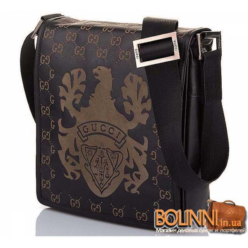 Мужская молодежная коричневая кожаная сумка Gucci 1ed56610673