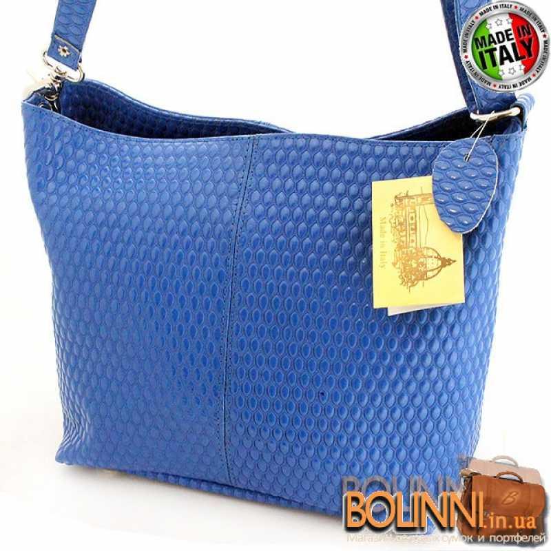 59b6d3c9dcb8 Итальянская женская кожаная синяя сумка VERA PELLE