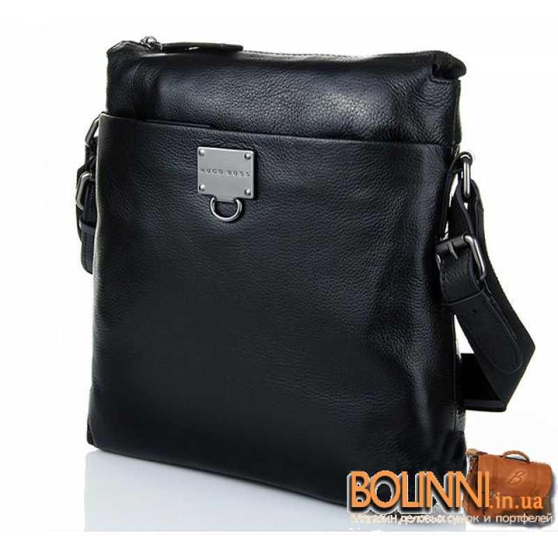 ab48207e858a Большая вертикальная мужская кожаная сумка А4 Hugo Boss