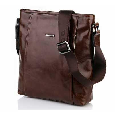 Коричневая мужская кожаная сумка Hugo Boss