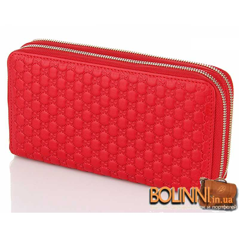 b763616df188 Красный женский кожаный кошелек на 2 молнии Gucci