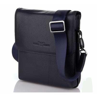 Синяя мужская кожаная сумка Armani