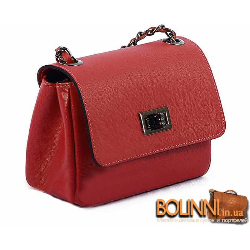 886baf2eab9f Женская кожаная каркасная сумка красного цвета Vera Pelle