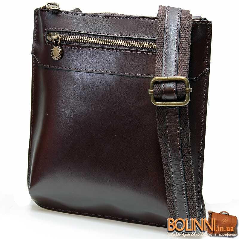 0021a2983177 Кожаная мужская стильная итальянская коричневая сумка