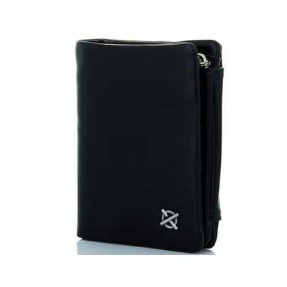 0d346dfb50a4 Черное мужское кожаное вертикальное портмоне - Marco Coverna