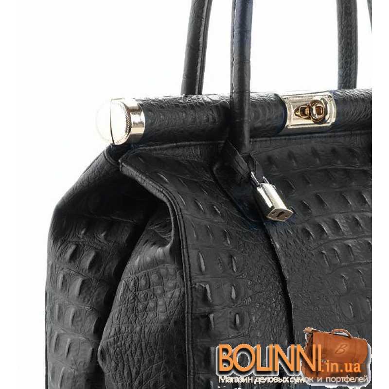 1a8ede111d04 ... Женская кожаная сумочка саквояж с тиснением под кожу крокодила ...