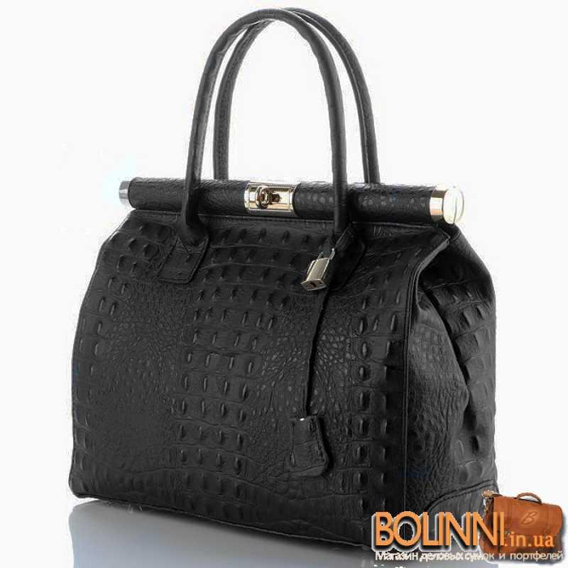 60e4ad98a48f Женская кожаная сумочка саквояж с тиснением под кожу крокодила